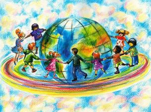 Multicultural kids with globe art_0